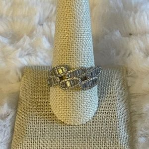 Double row baguette & pave ring, sterling silver